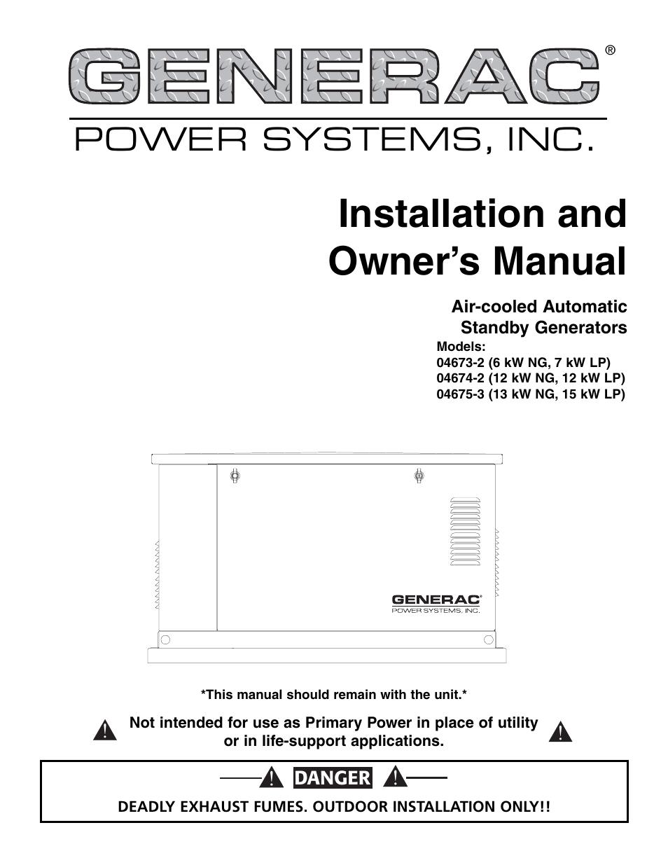 generac 04673-2 user manual | 56 pages | also for: 04674-2 ... generac wiring diagram generac wiring manuals