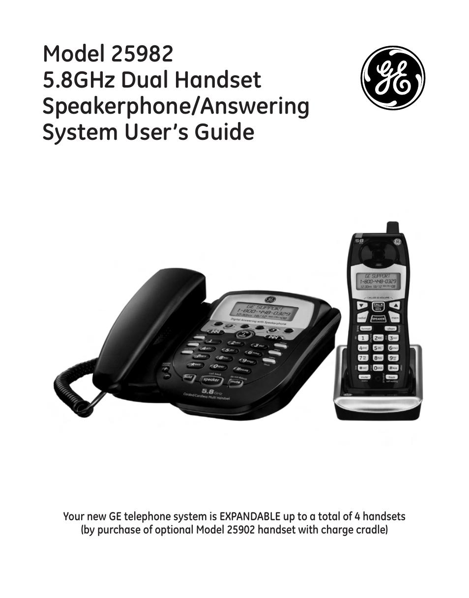 ge 25982 user manual 100 pages rh manualsdir com GE Telephone User Manual GE Cordless 5.8 Gigahertz Phone