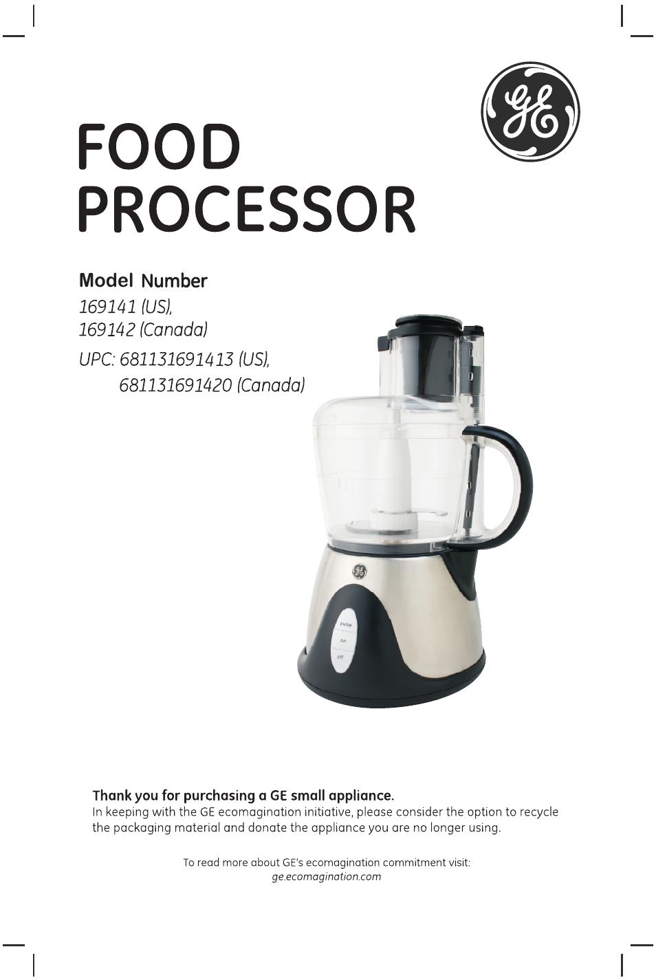 ge 169141 user manual 12 pages also for 169142 169066 rh manualsdir com GE Variable Speed Food Processor Blender Food Processor