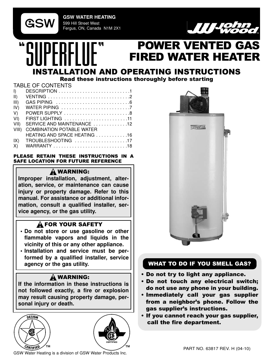 Gsw gas fired water heater user manual 20 pages sciox Images