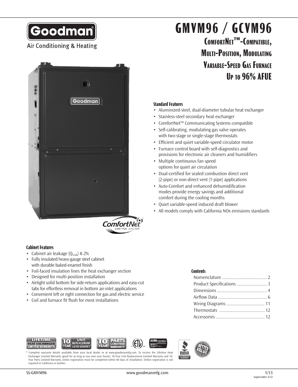 Goodman Mfg Variable Speed Gas Furnace Gmvm96 User Manual