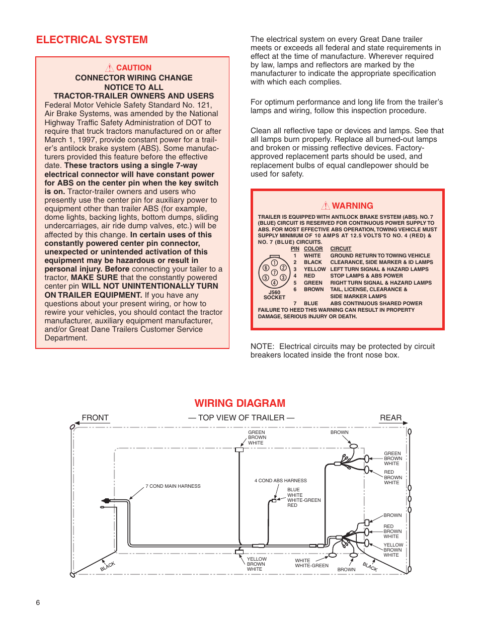 Electrical system, Wiring diagram, Warning | Great Dane 42101401 User Manual  | Page 8 / 32