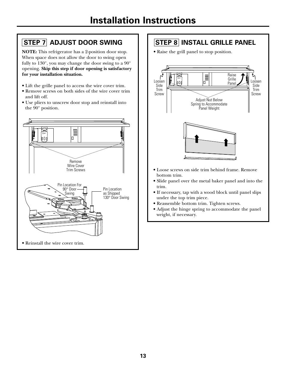 Step 7, Adjust Door Swing, Step 8, Install Grille Panel, Installation  Instructions | GE Monogram ZICS360 LH User Manual | Page 13 / 20