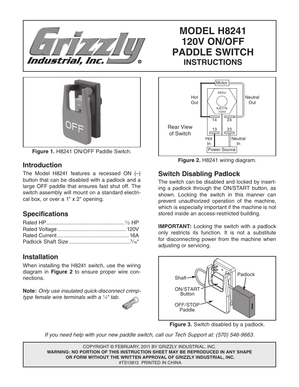 Grizzly H8241 User Manual