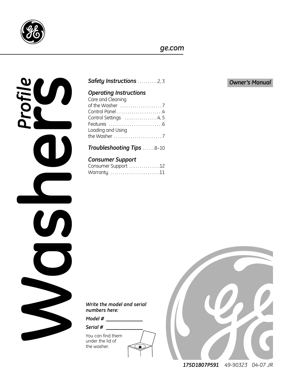 Ge Profile Washer User Manual