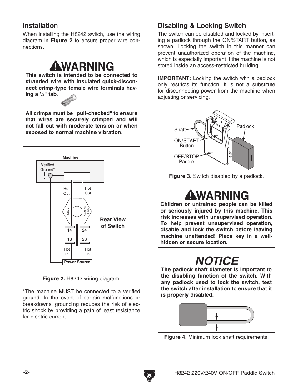 Notice Disabling Amp Locking Switch Installation Grizzly