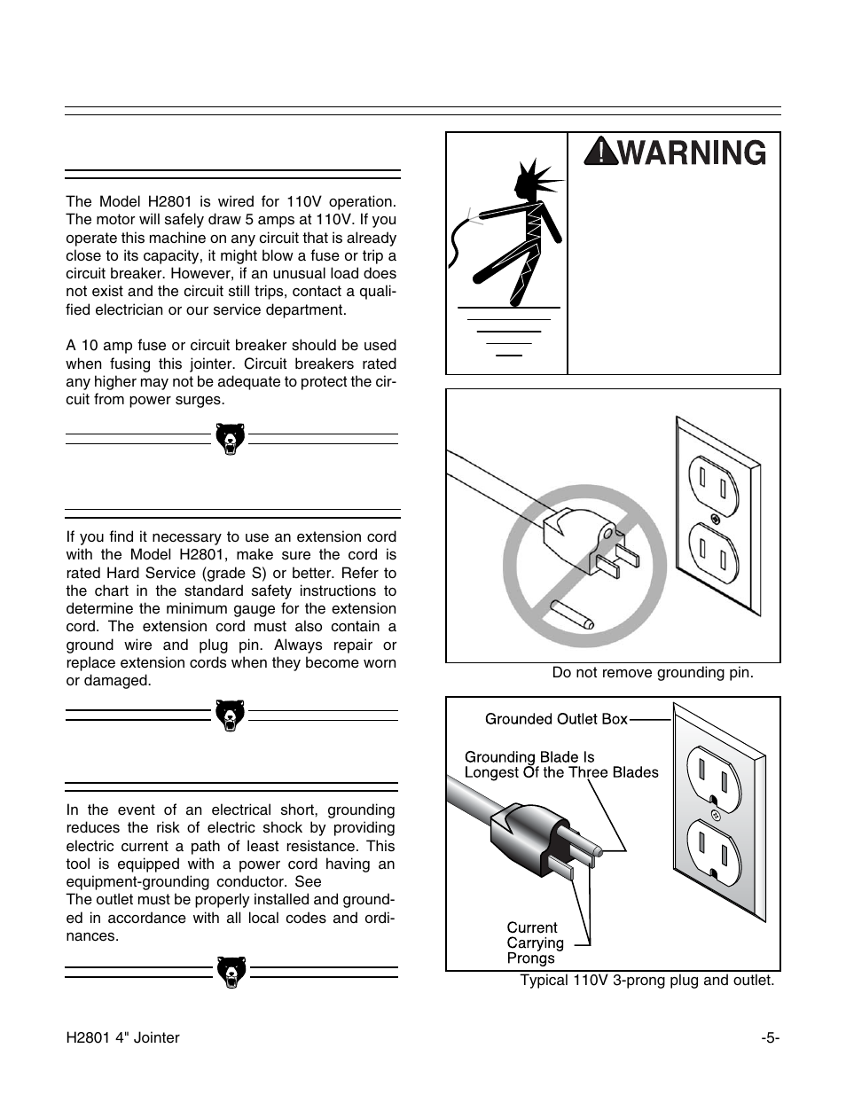 110v Operation Extension Cords Grounding Grizzly H2801 User 3 Prong Grounded Plug Wiring Diagram Manual Page 7 32