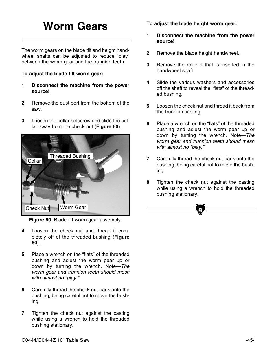 worm gears grizzly g0444 user manual page 47 64 original mode rh manualsdir com