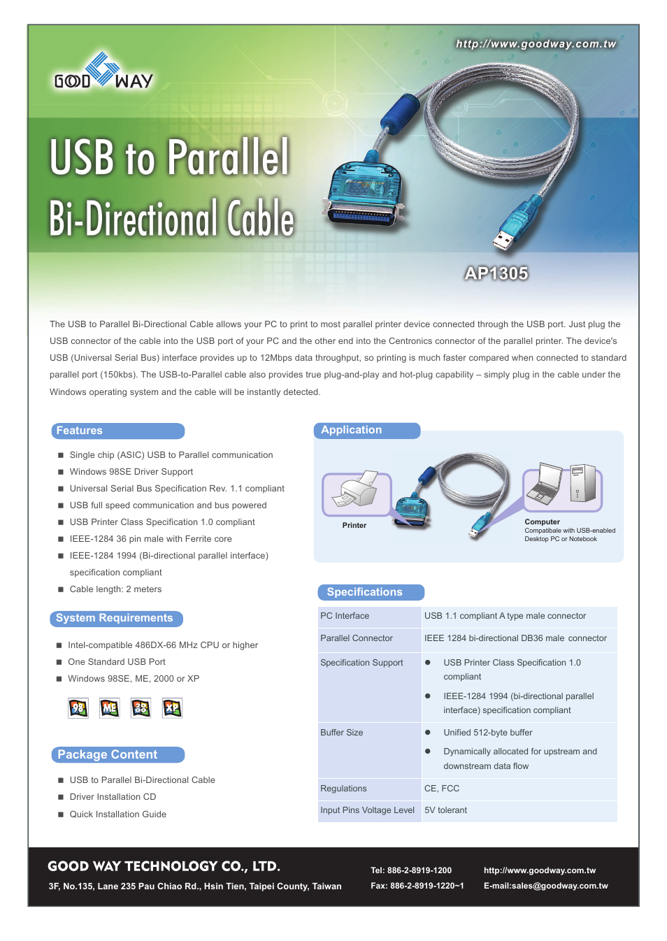 Good Way Tech Usb To Parallel Bi Directional Cable Ap1305 User