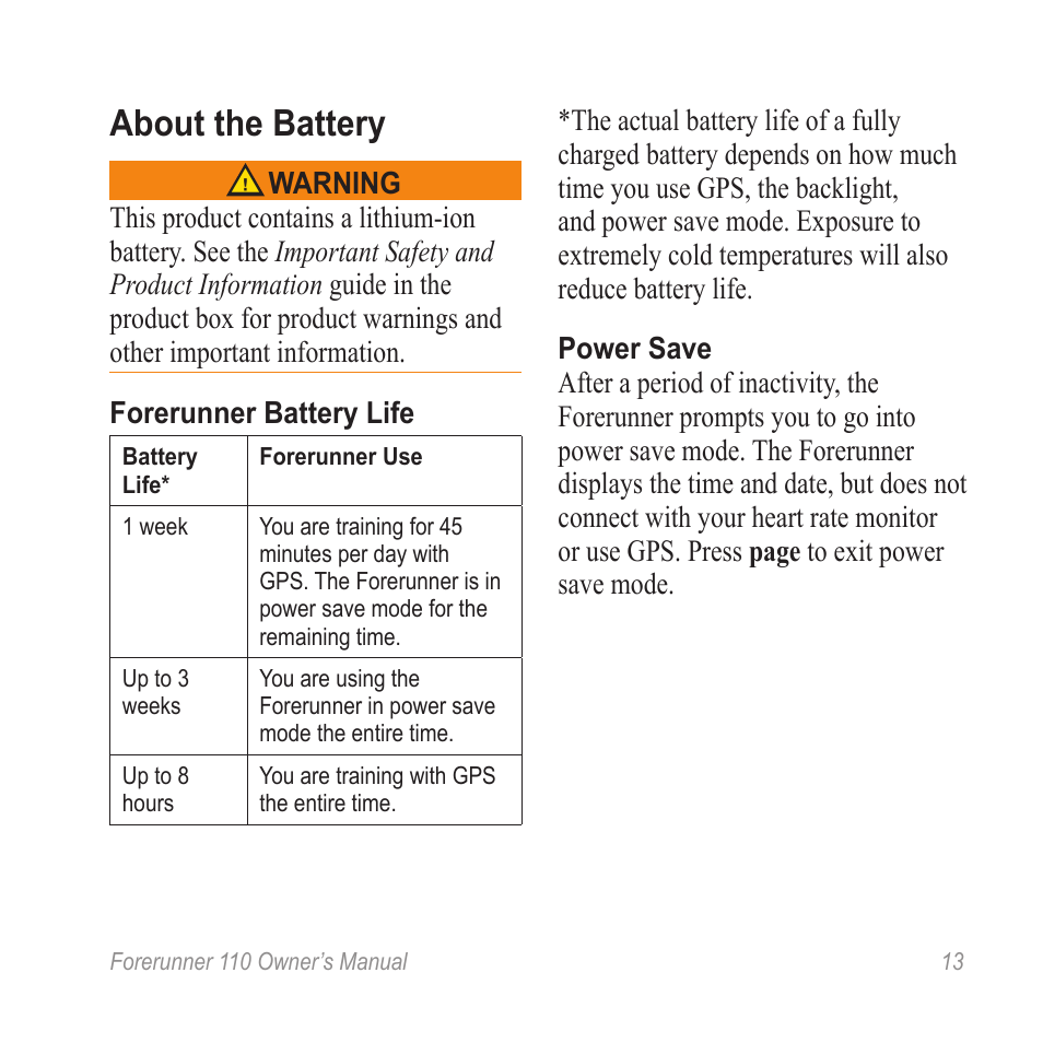 about the battery garmin forerunner 110 user manual page 13 16 rh manualsdir com forerunner 110 user manual garmin rino 110 user manual