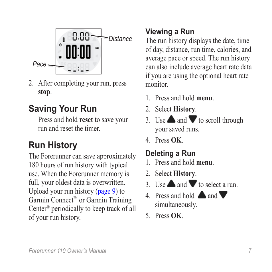 saving your run run history garmin forerunner 110 user manual rh manualsdir com forerunner 110 user manual garmin rino 110 user manual