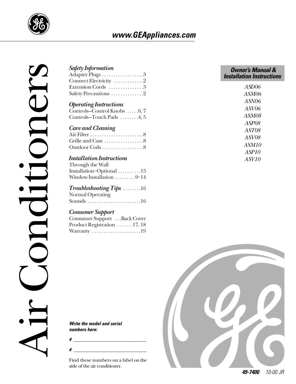 ge 49 7400 user manual 20 pages rh manualsdir com GE Refrigerator Manual GE Monogram Refrigerator