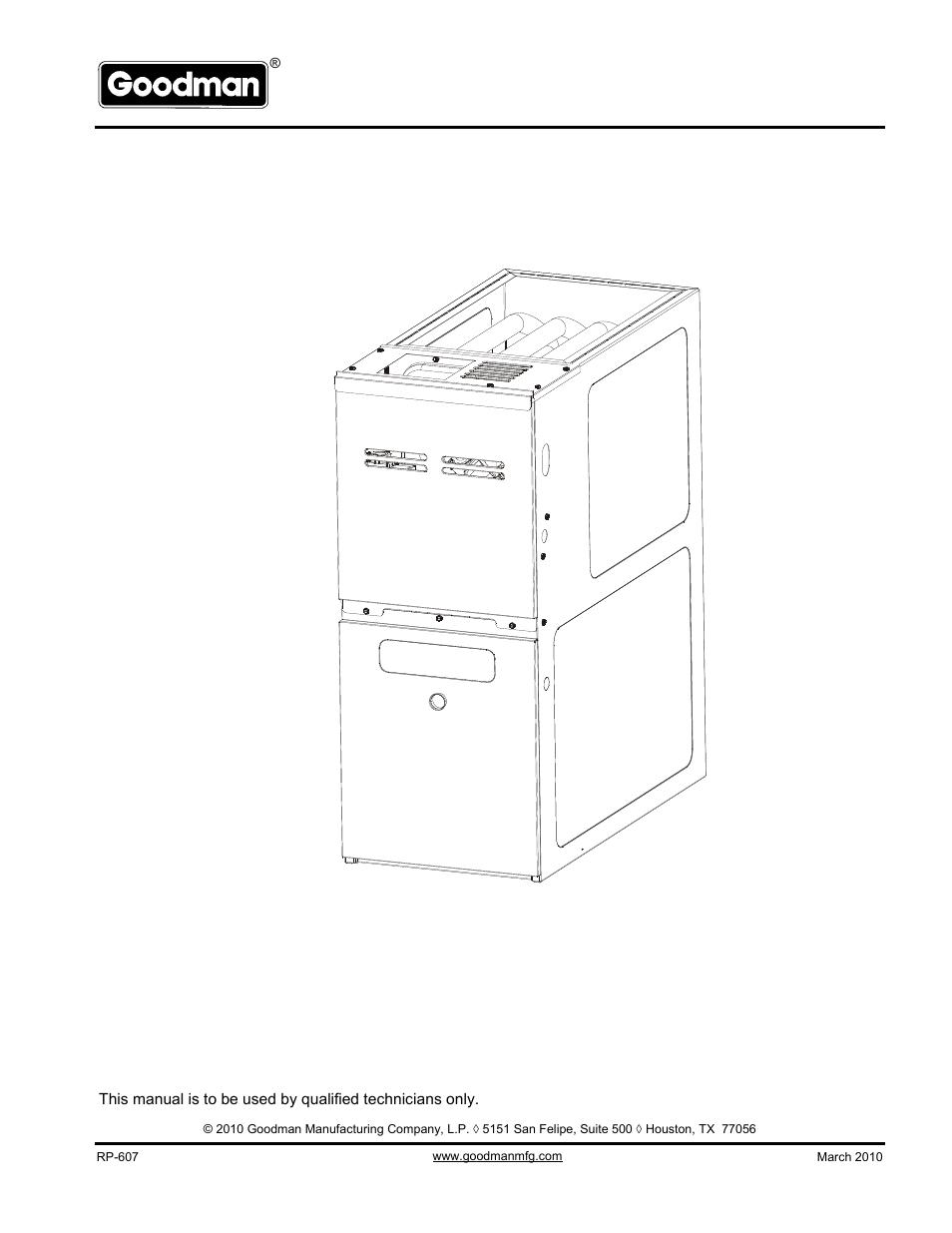 Goodman Mfg Gms80905cncc User Manual