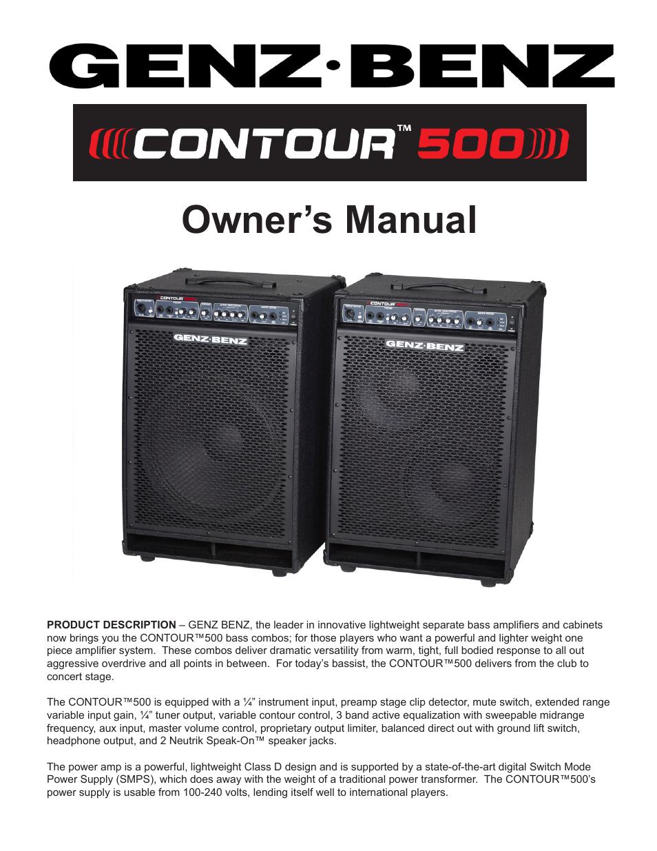 Genz Benz Contour 500 User Manual 7 Pages