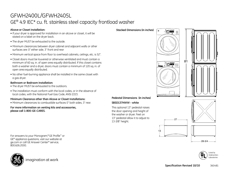 GE SBSD137HWW User Manual | Page 2 / 3 | Also for: Profile ... on