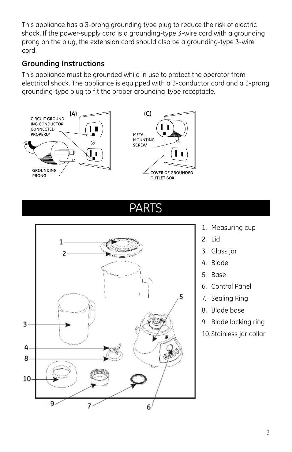 Parts Ge 169119 User Manual Page 3 6 Diagram Wire Grounded Cord