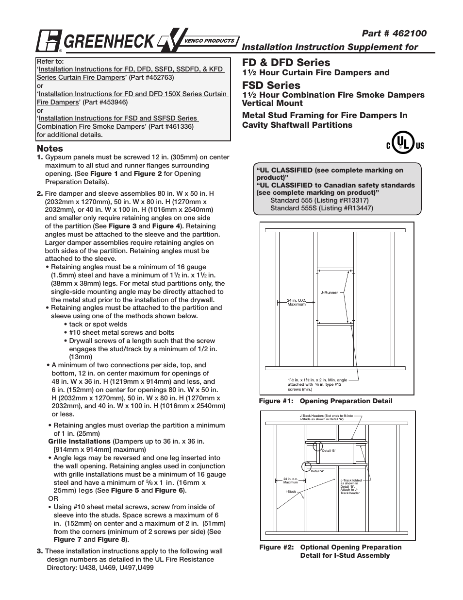 Greenheck Fan Firestop Material Dfd Series User Manual