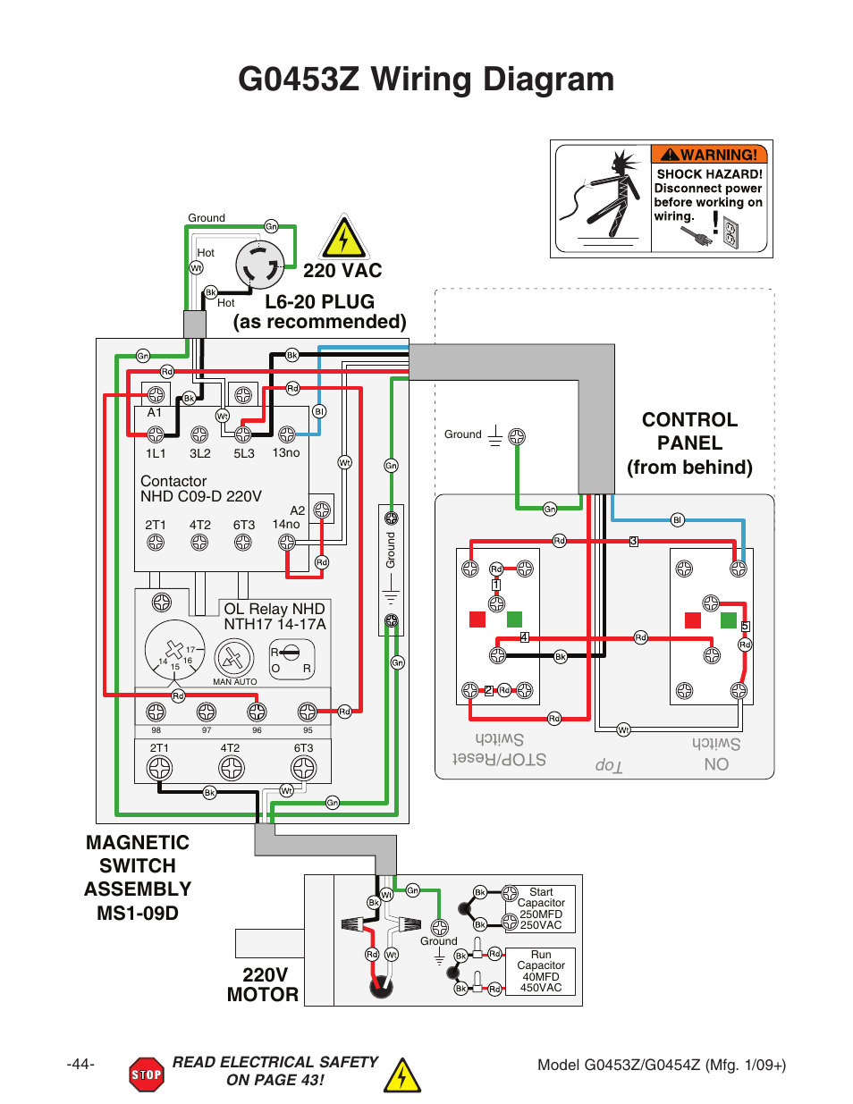 Motor Wiring Diagram For Grizzly Worksheet And 2000 Yamaha 600 Fan G0453z 220v G0453px User Manual Rh Manualsdir Com 2003 660