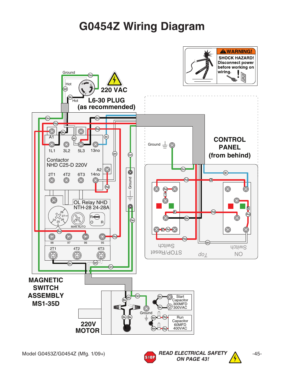 G0454z wiring diagram, 220v motor, On switch top stop/reset switch |  Grizzly G0453PX User Manual | Page 51 / 72 | Original modeManuals Directory
