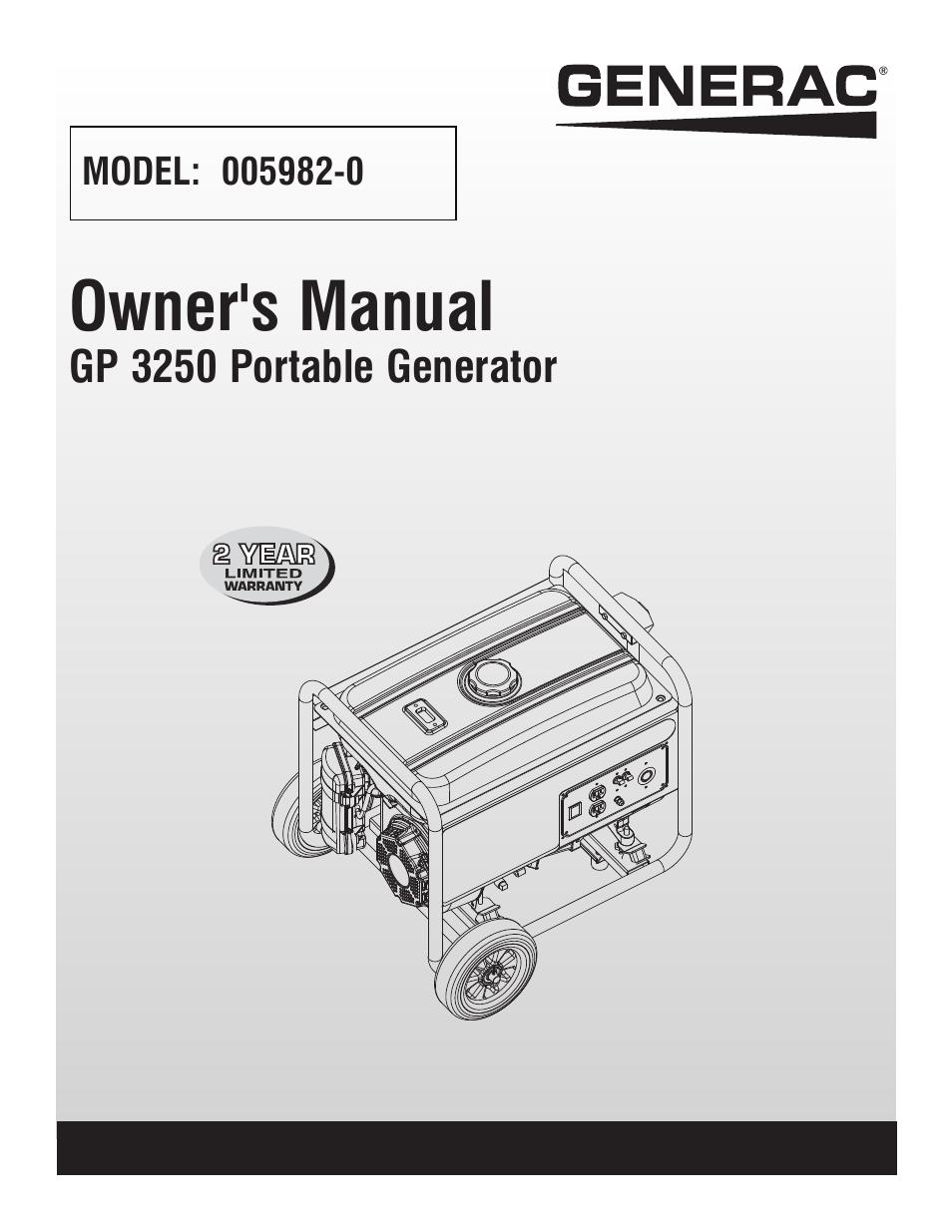 Generac Manuals Circuit Breaker Box Wiring Http Membersrennlistorg Warren Badgen4 0059435 Array Gp 3250 Portable Generator 005982 0 User Manual 20 Pages Rh Manualsdir