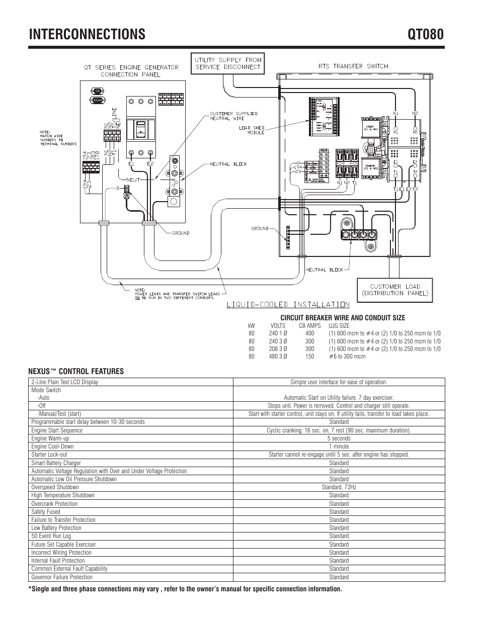 Interconnections Qt080 Generac User Manual Page 4 6 Nexus Smart Switch Wiring