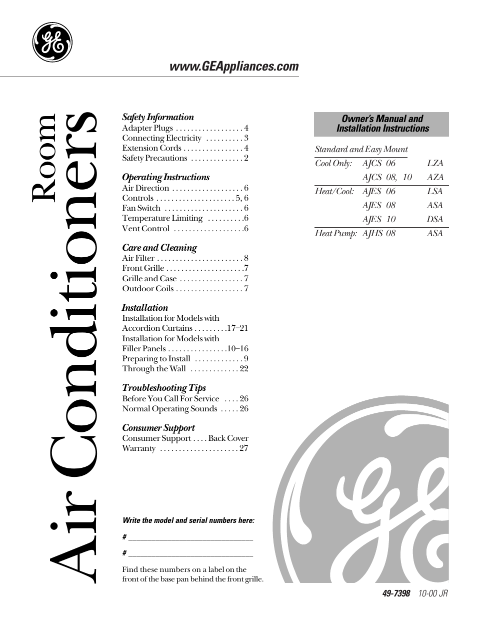 ge 10 aza user manual 28 pages original mode rh manualsdir com GE Dryer Repair Manual Owners Manual GE Appliances