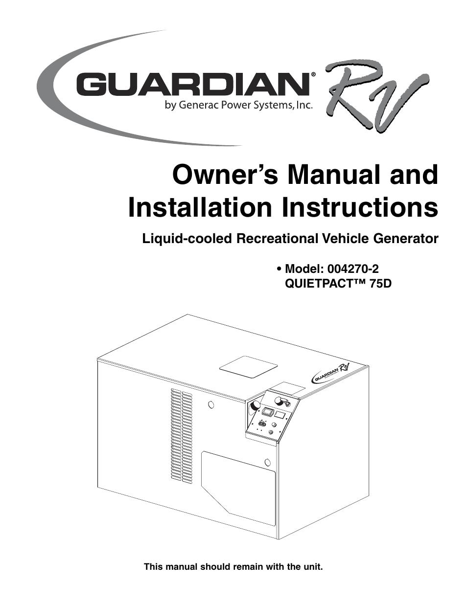 Generac Guardian Generator Installation Manual Manual Guide