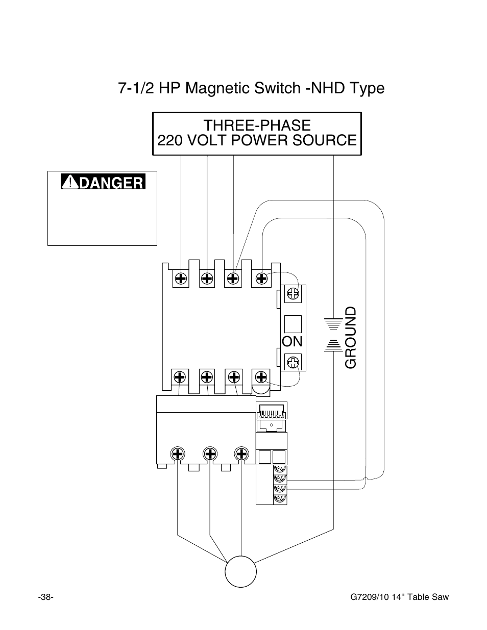 1/2 hp magnetic switch -nhd type, Three-phase 220 volt power source Magnetic Switch Wiring Diagram Volt on