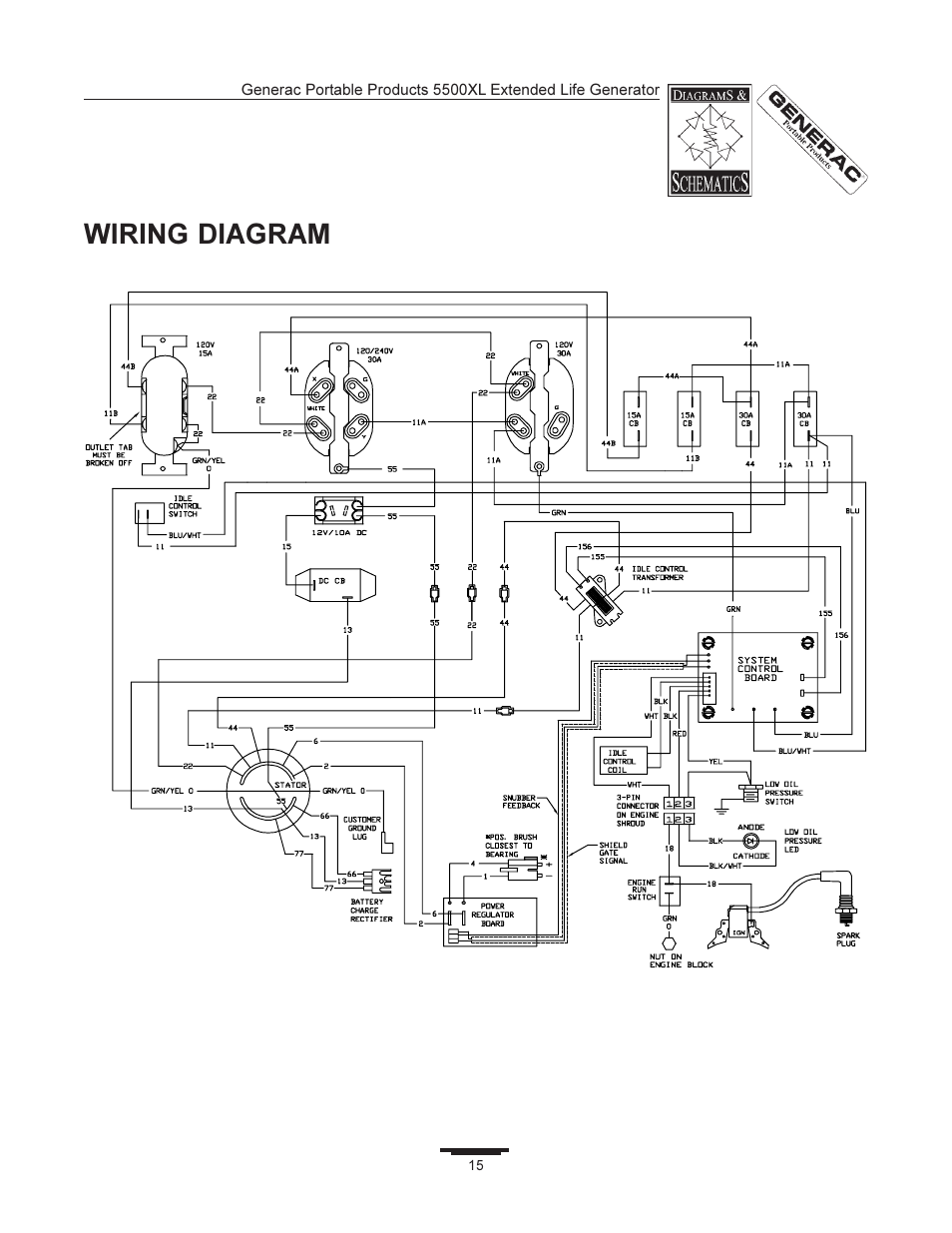Wiring diagram | Generac 5500XL User Manual | Page 15 / 18Manuals Directory