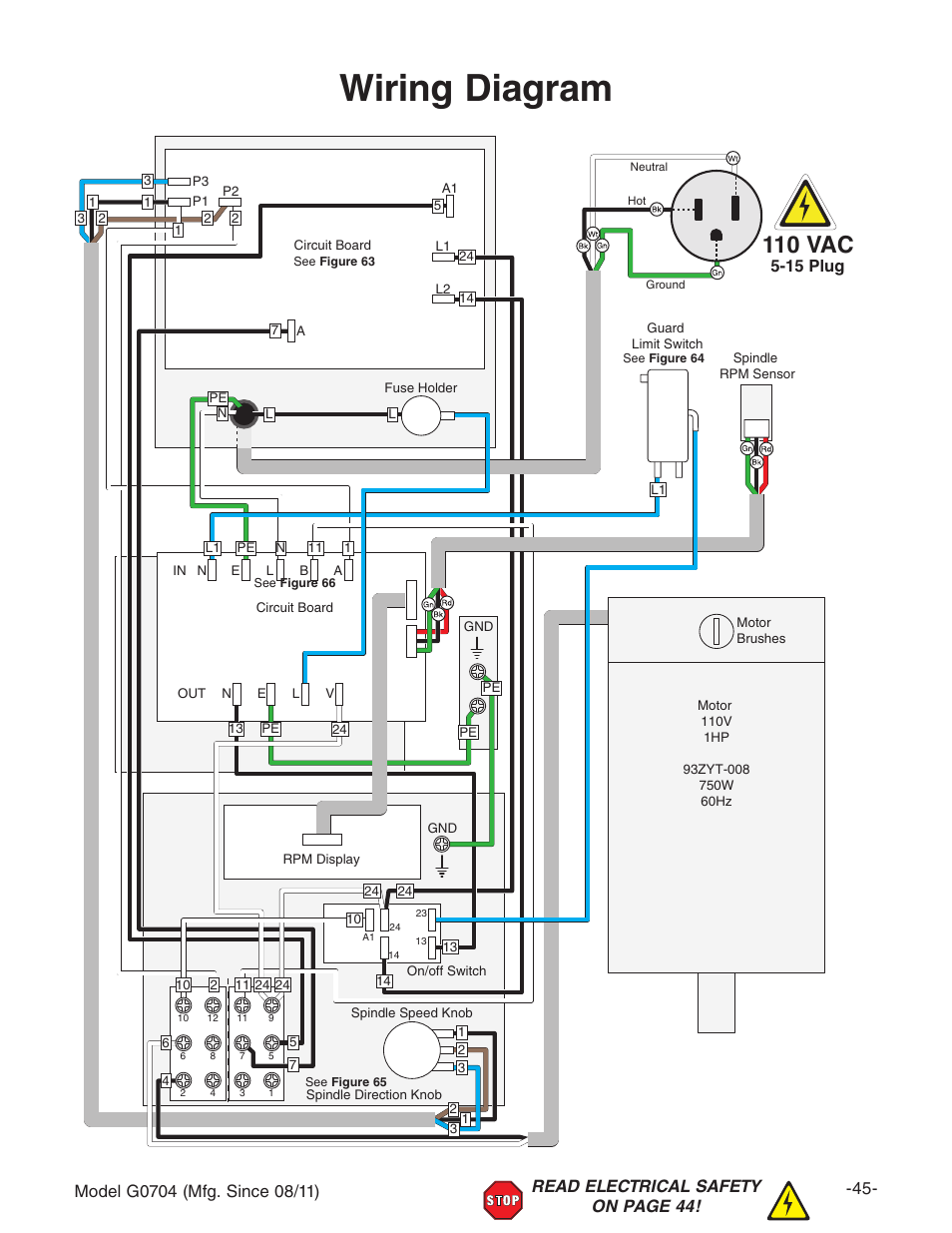 Wiring       diagram        110    vac   Grizzly G0704 User Manual   Page 47  60