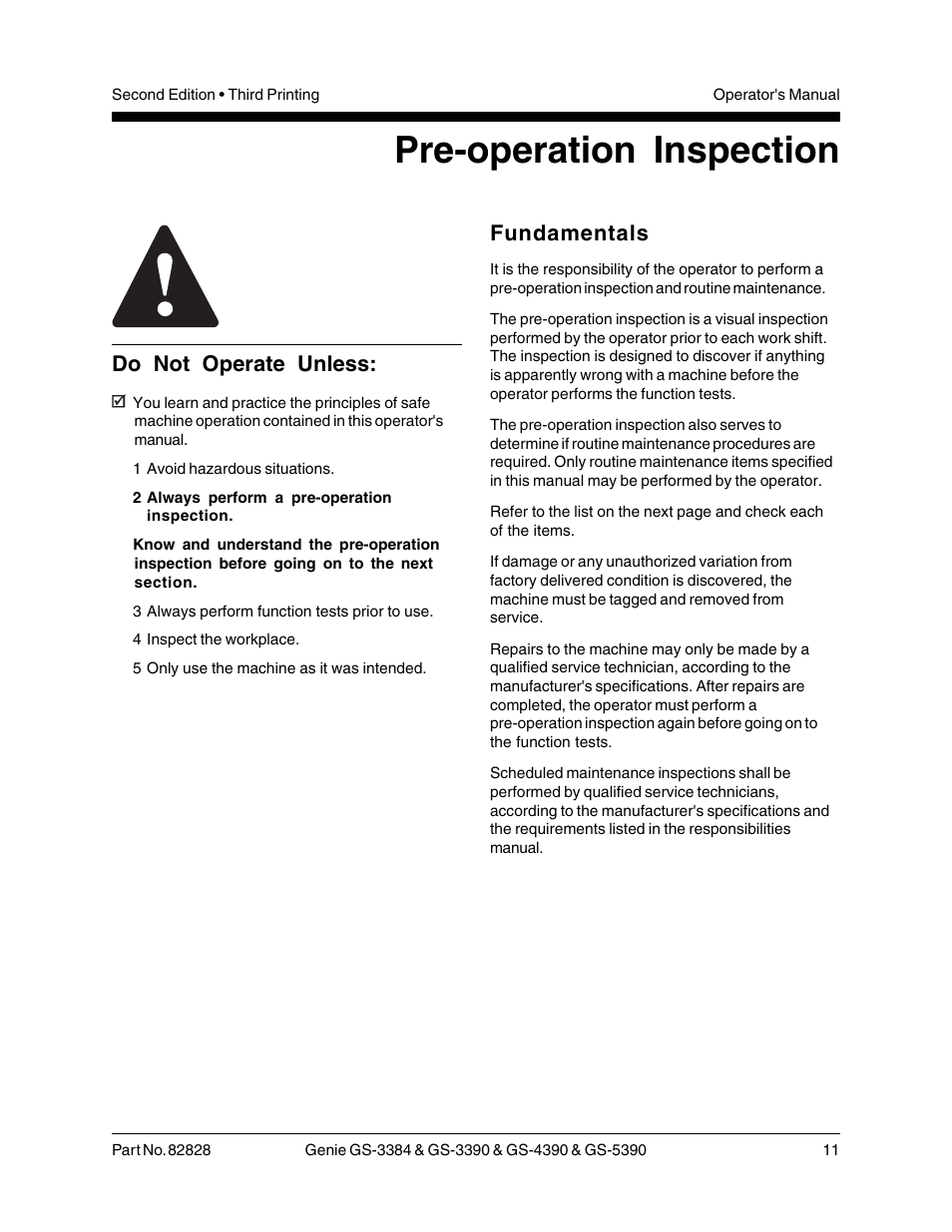 Pre-operation inspection, Do not operate unless