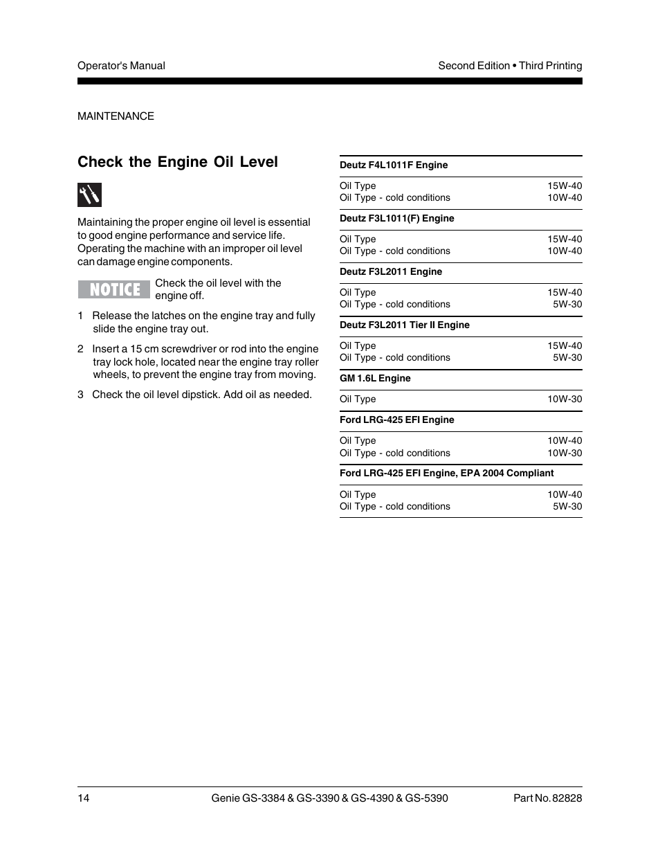 Check the engine oil level | Genie GS-5390 User Manual