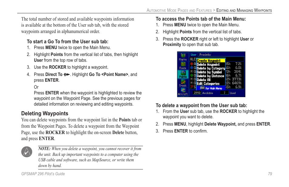 Deleting waypoints | Garmin GPSMAP 296 User Manual | Page 87 / 168
