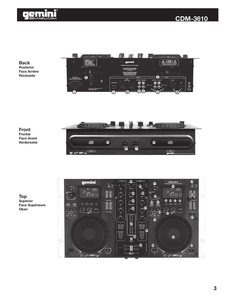 Cdm-3610, back, front | gemini cdm-3610 user manual | page 3 / 25.