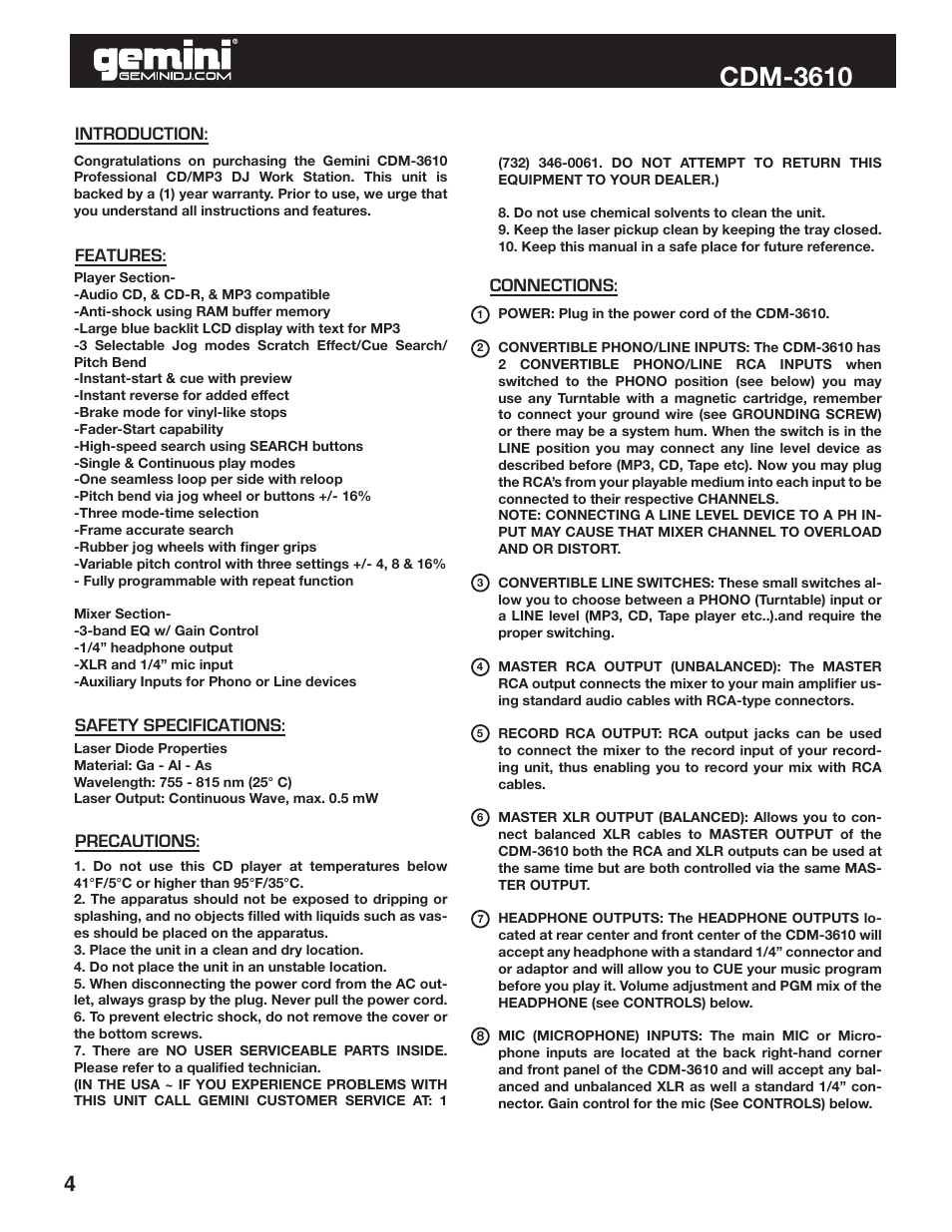 Cdm-3610 | Gemini CDM-3610 User Manual | Page 4 / 25