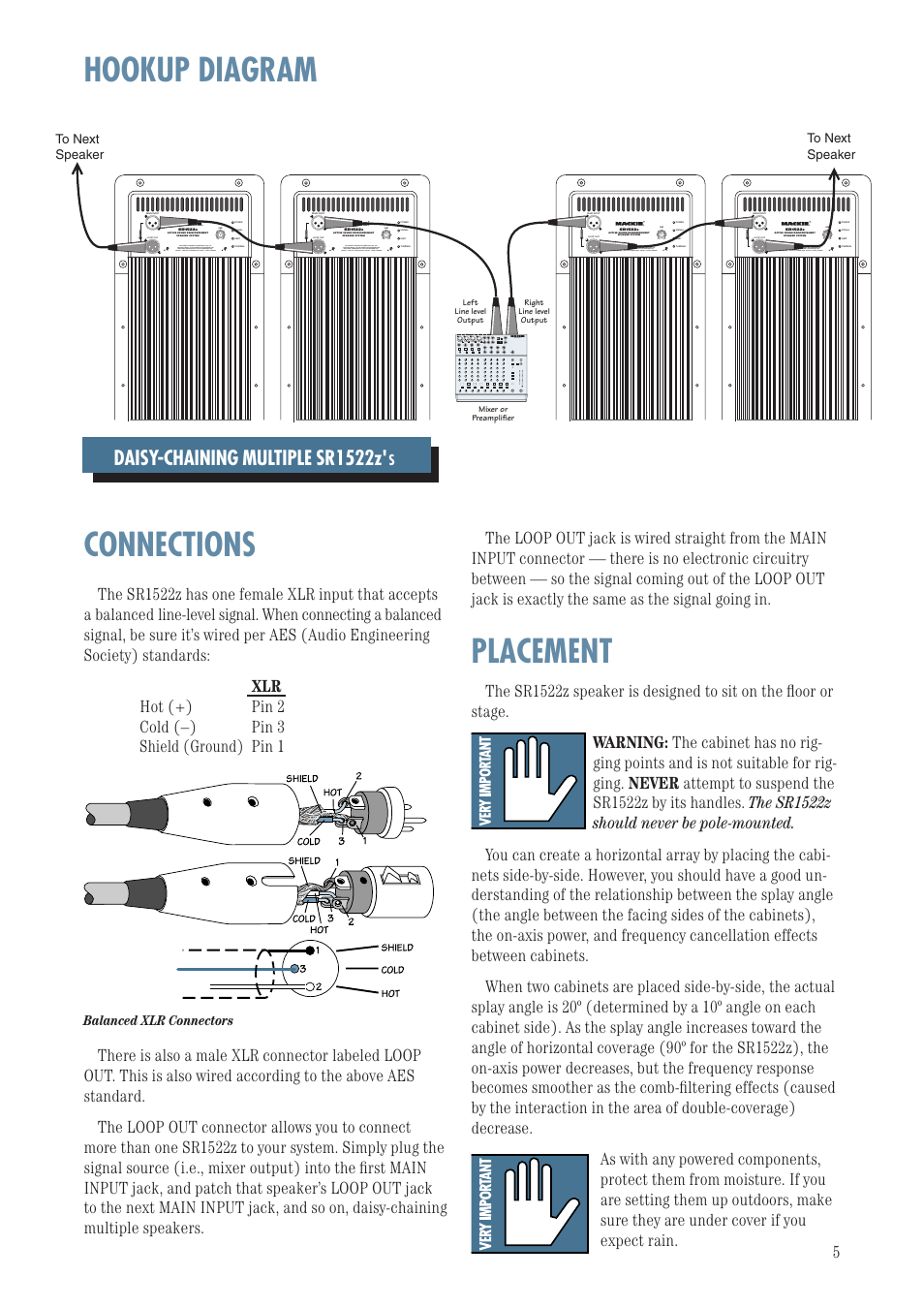 Hookup Diagram Connections Placement Mackie Sr1522z User Manual Hook Up Daisy Chaining Multiple Balanced Xlr Connectors