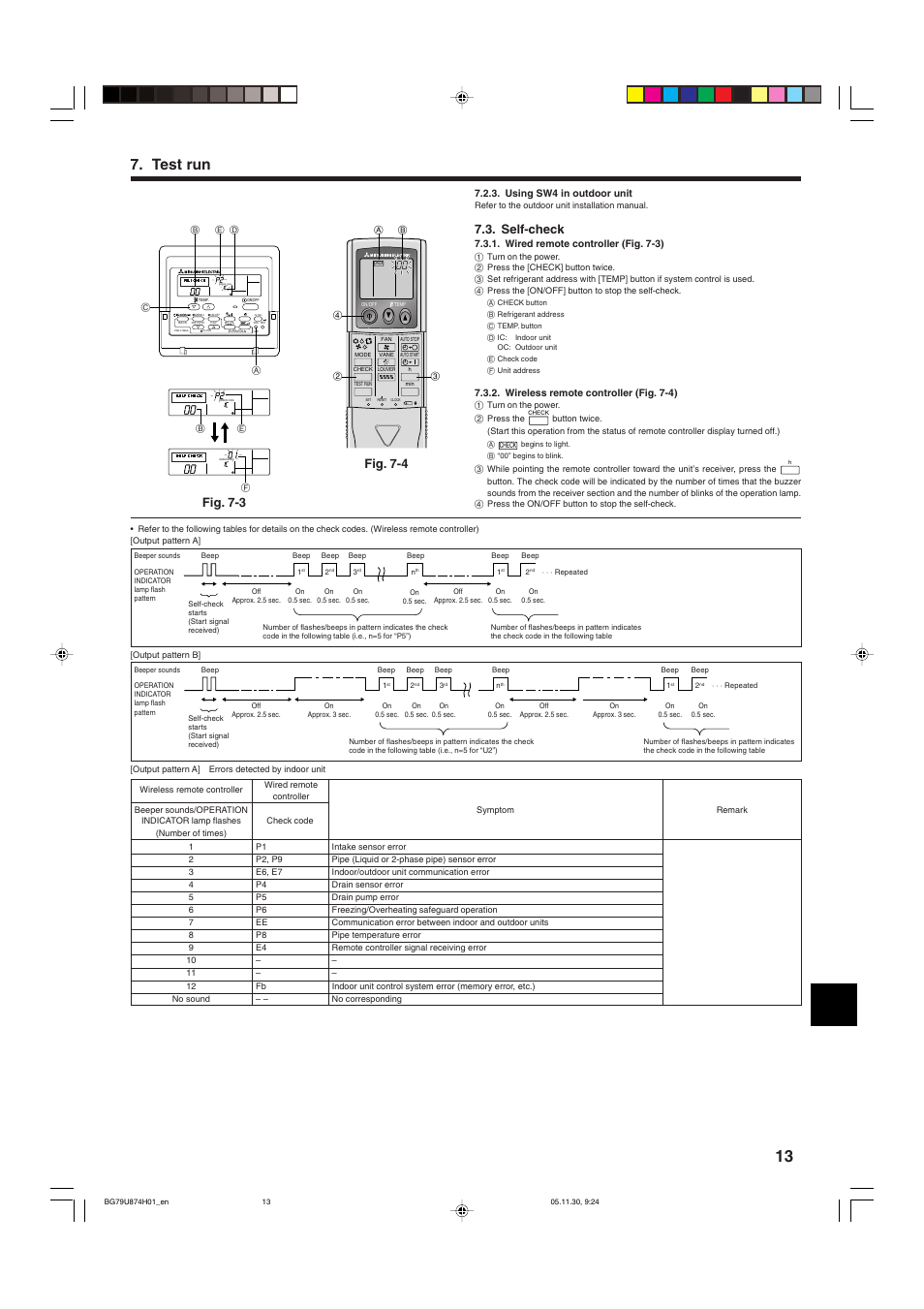 Test run, Self-check, Fig  7-4 fig  7-3 | MITSUBISHI ELECTRIC Mr