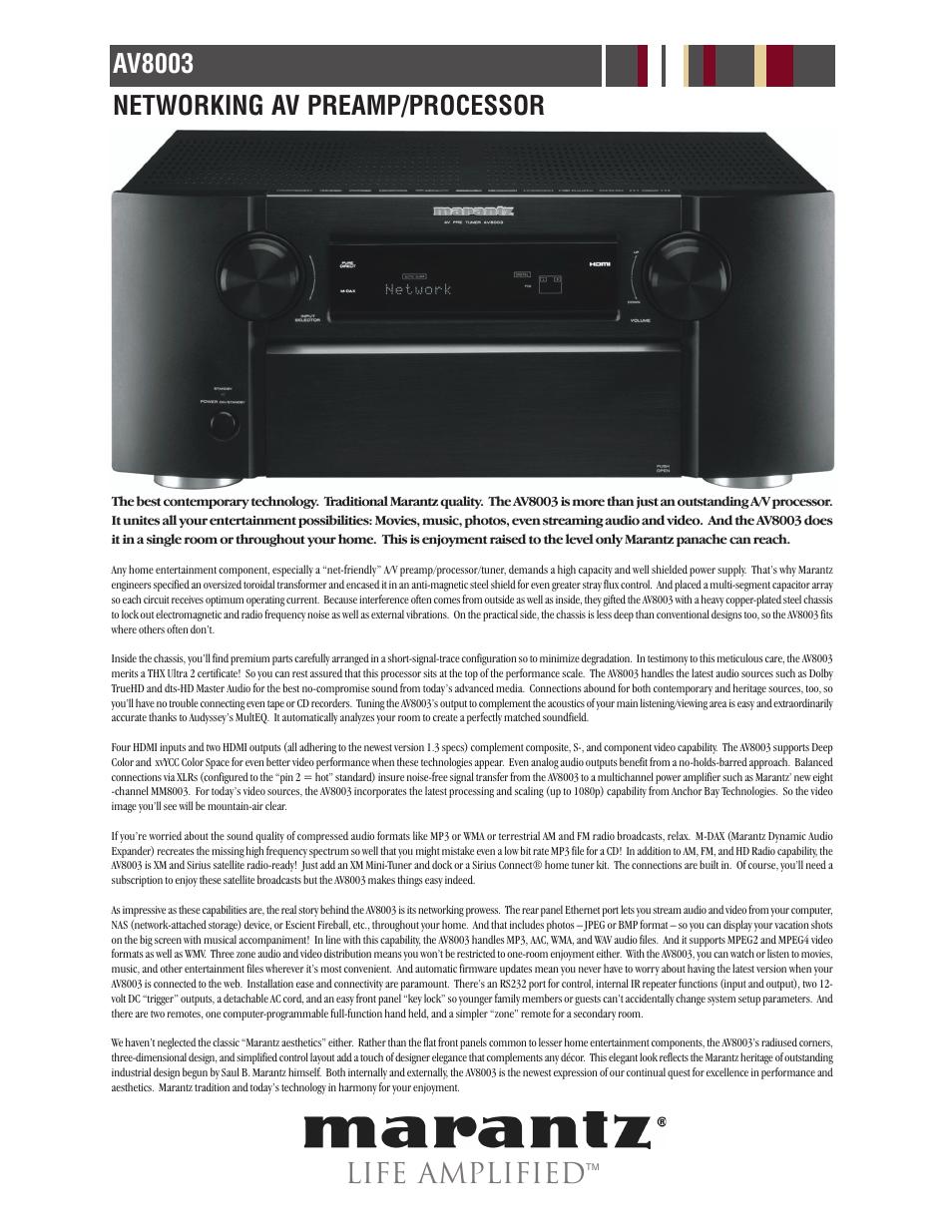 Life amplified, Av8003 networking av preamp/processor | Marantz AV8003 User  Manual | Page 2 / 5