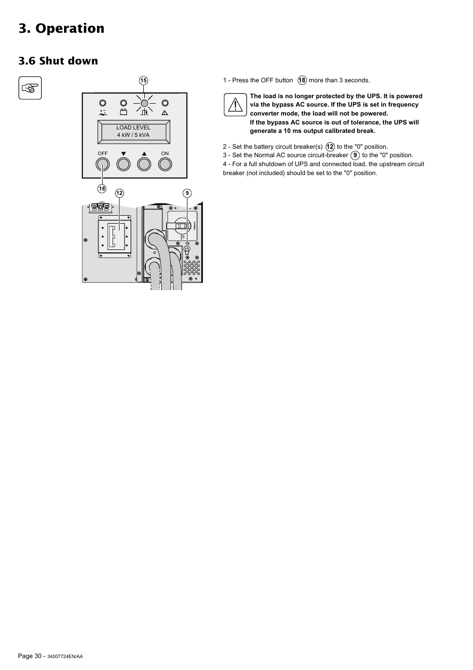 Operation 6 Shut Down Mge Ups Systems Comet Ex 11 Rt 31 User U P S Circuit Diagram Manual Page 30 38