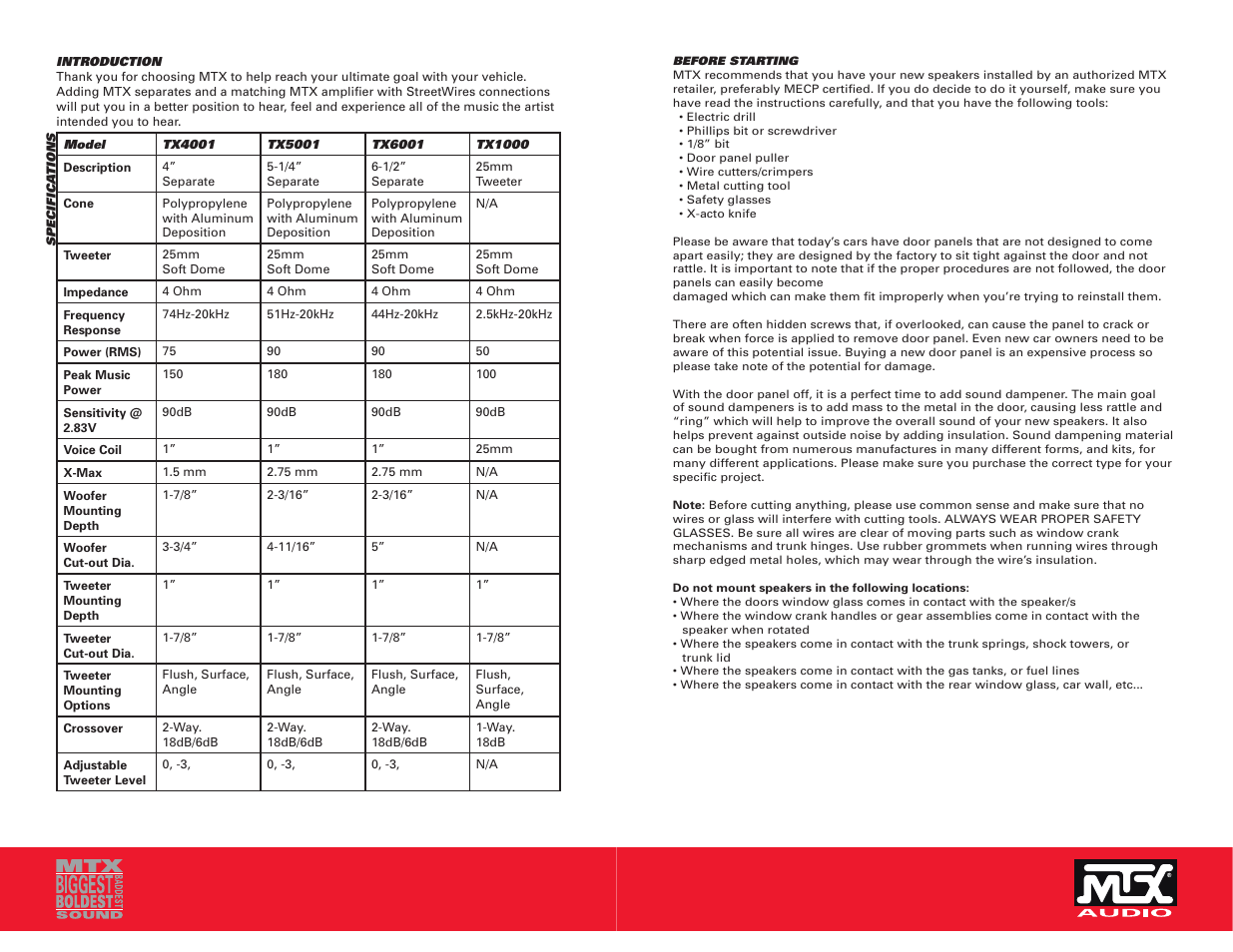 Mtx Audio Mtx Thunder Axe Separates Tx4001 User Manual Page 2 6
