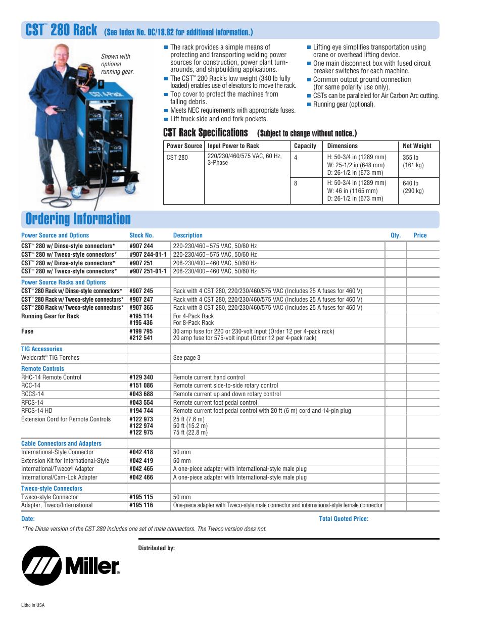 ordering information, 280 rack, cst rack specifications miller Miller Manuals at Miller Cst 280 Wiring Diagram
