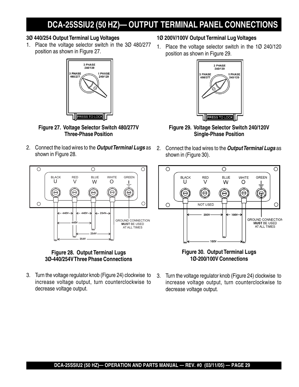 Multiquip Mq Power Whisperwatt 50 Hz Generator Dca 25ssiu2 User 100v 1 Phase Wiring Diagram Manual Page 29 82 Also For Dca25ssiu2