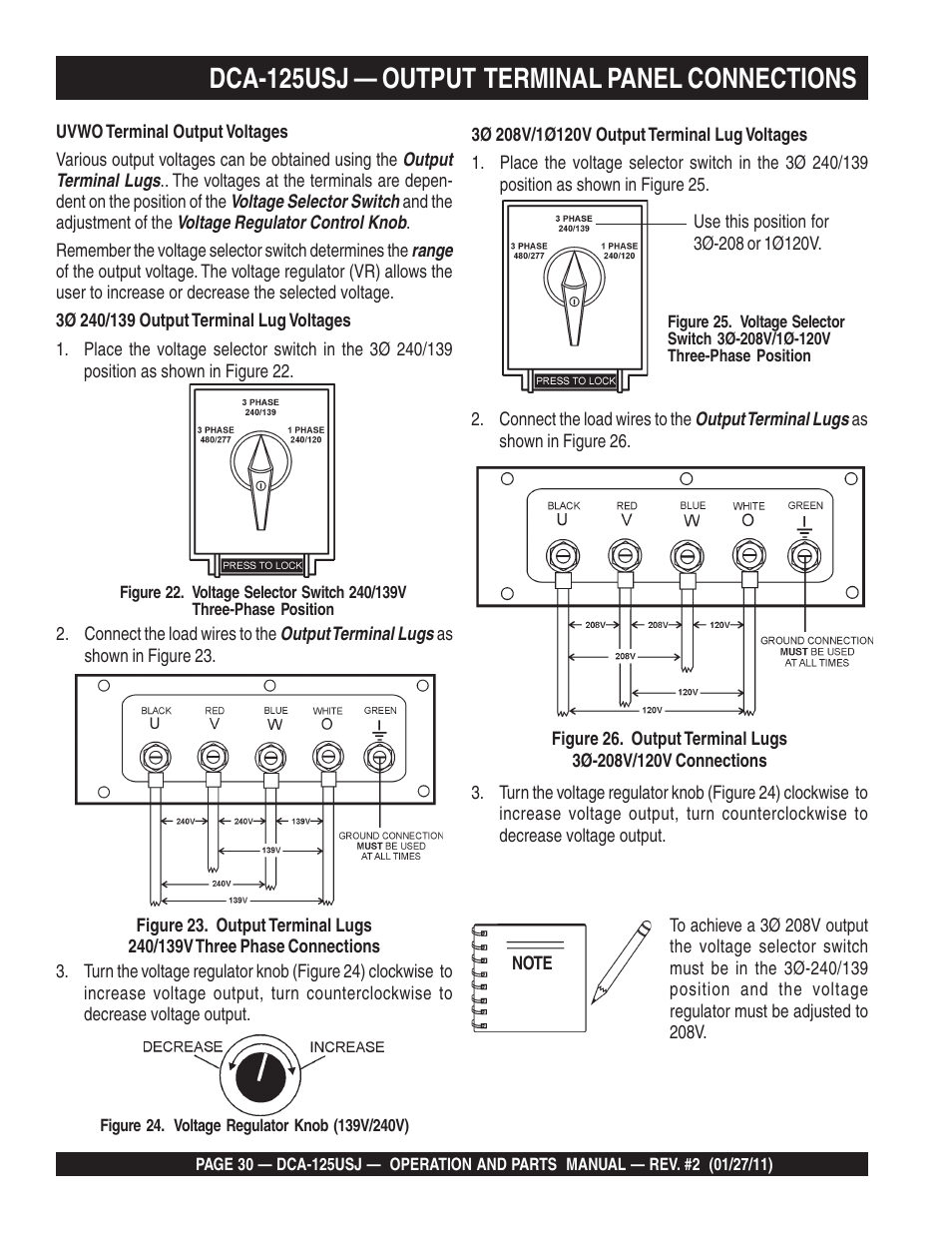 Dca 125usj Output Terminal Panel Connections Multiquip Mq Power 3 Phase Generator Wiring 60 Hz Dca125usj User Manual Page 30 84