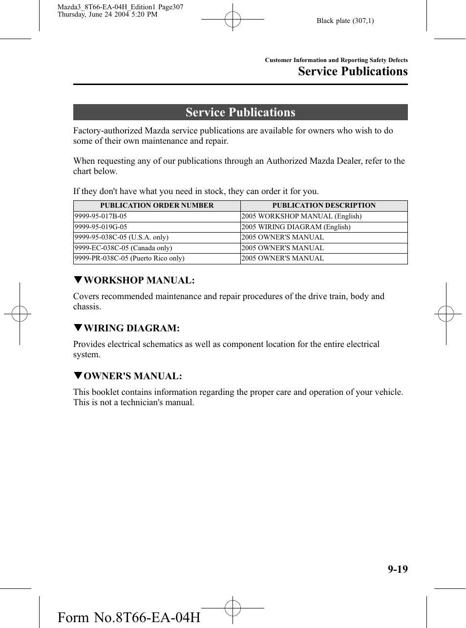 Service publications, Service publications -19 | Mazda 2005 3 4-DOOR User  Manual | Page 307 / 322