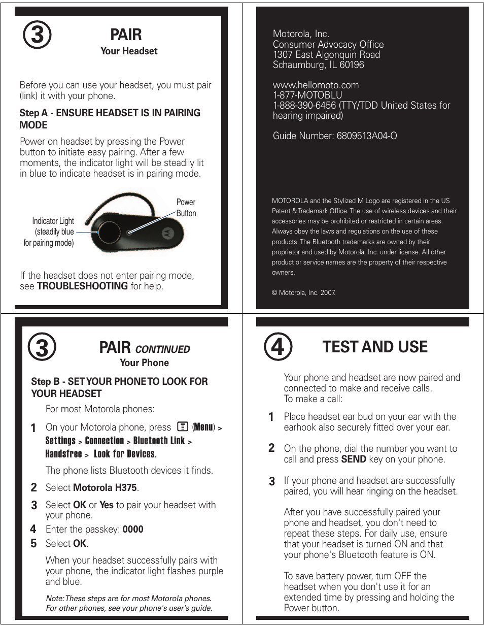 pair test and use motorola h375 user manual page 2 5 rh manualsdir com motorola h375 manual pdf Pass Key Motorola H375