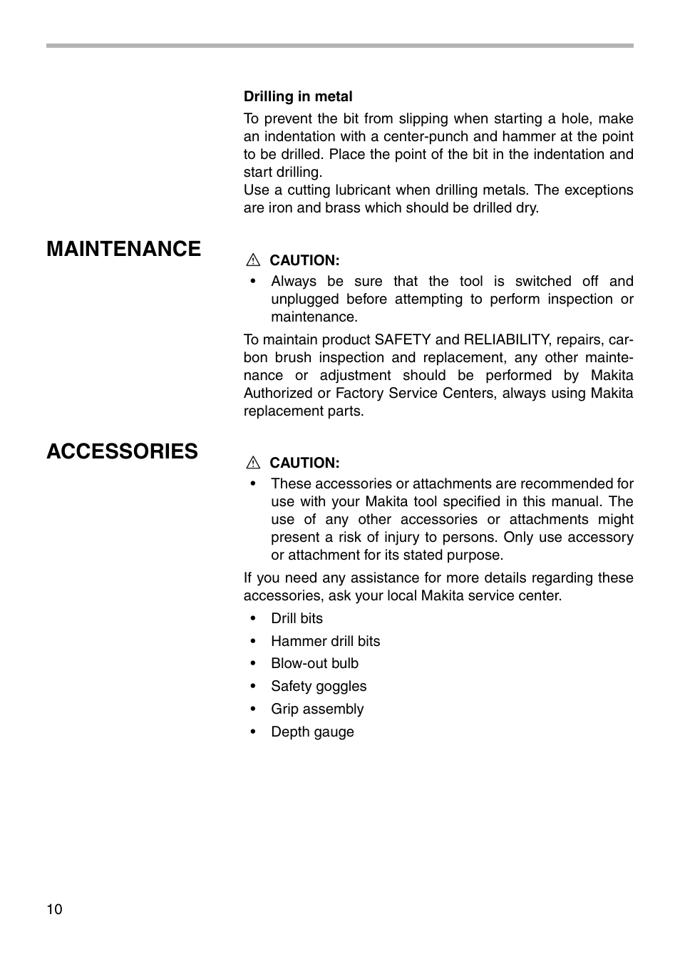 Maintenance, Accessories | Makita HP1500 User Manual | Page