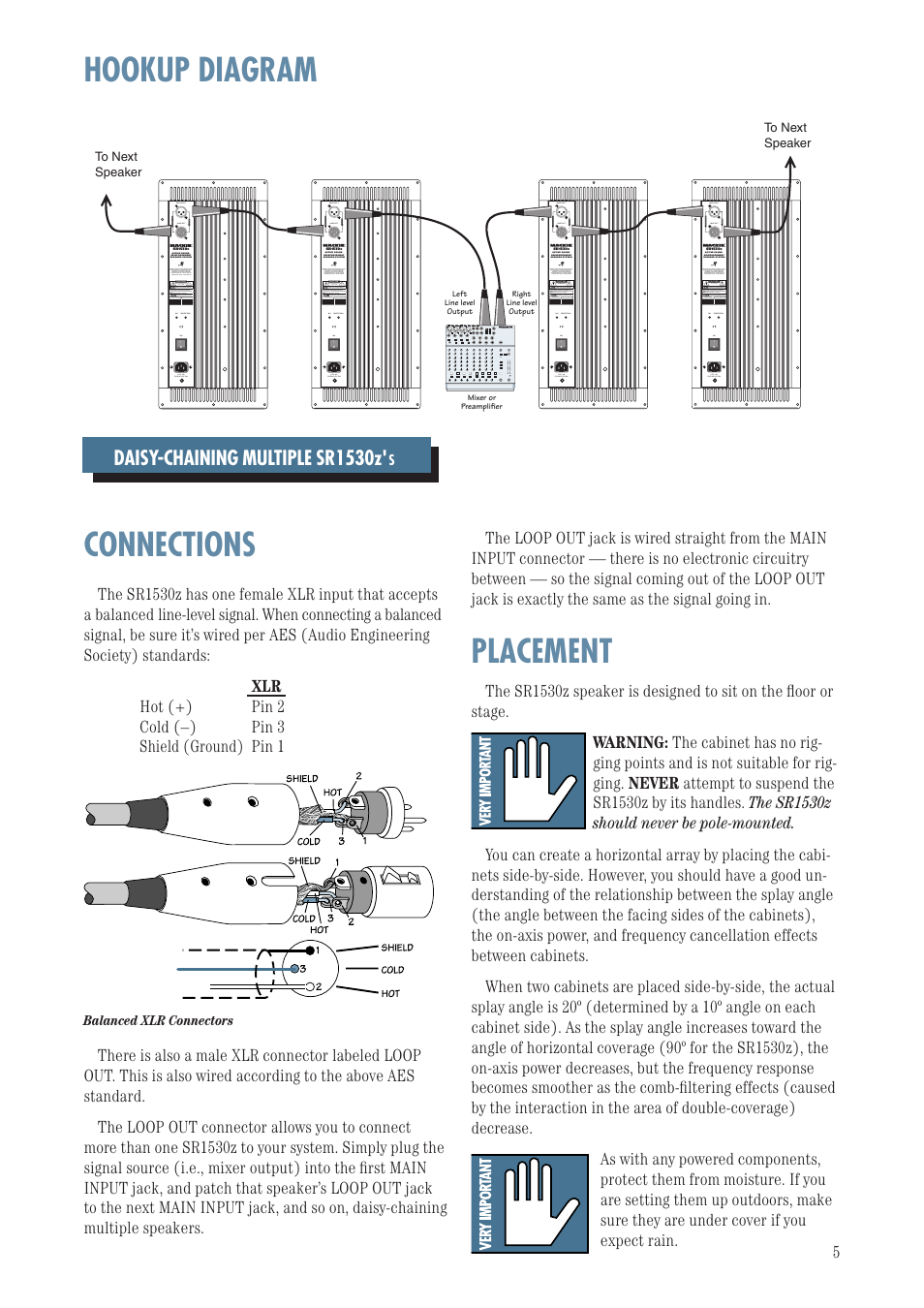 Hookup Diagram Connections Placement Mackie Sr1530z User Manual Schematic Balanced Xlr To Page 5 12