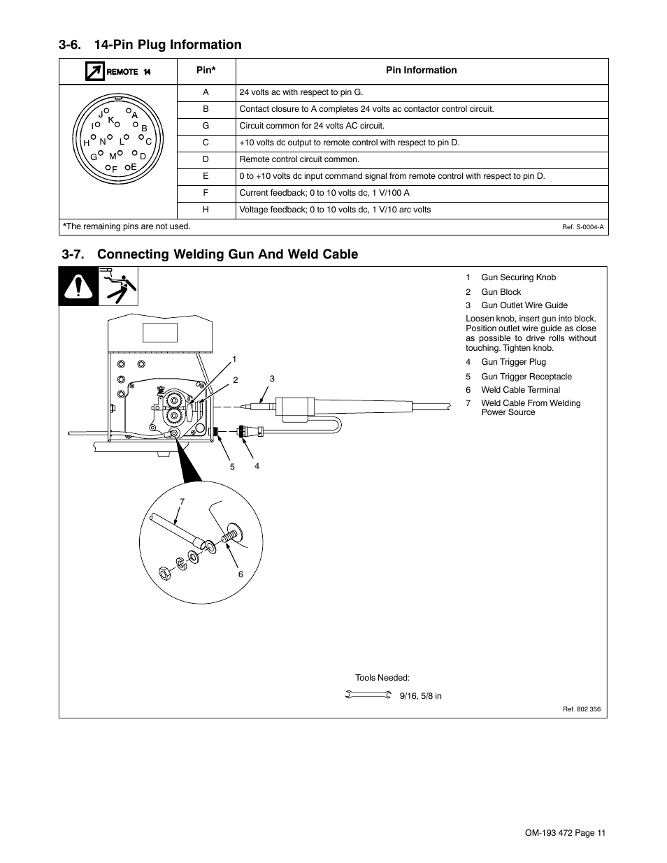 6 14 Pin Plug Information 7 Connecting Welding Gun And Weld Cable Block Diagram Miller Electric 22a User Manual Page 15 32