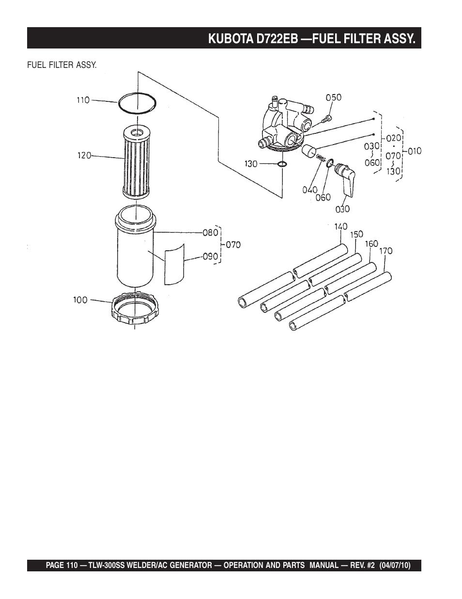 kubota d722eb —fuel filter assy | multiquip mq power whisperweld welder/ac  generator tlw-300ss user manual | page 110 / 138