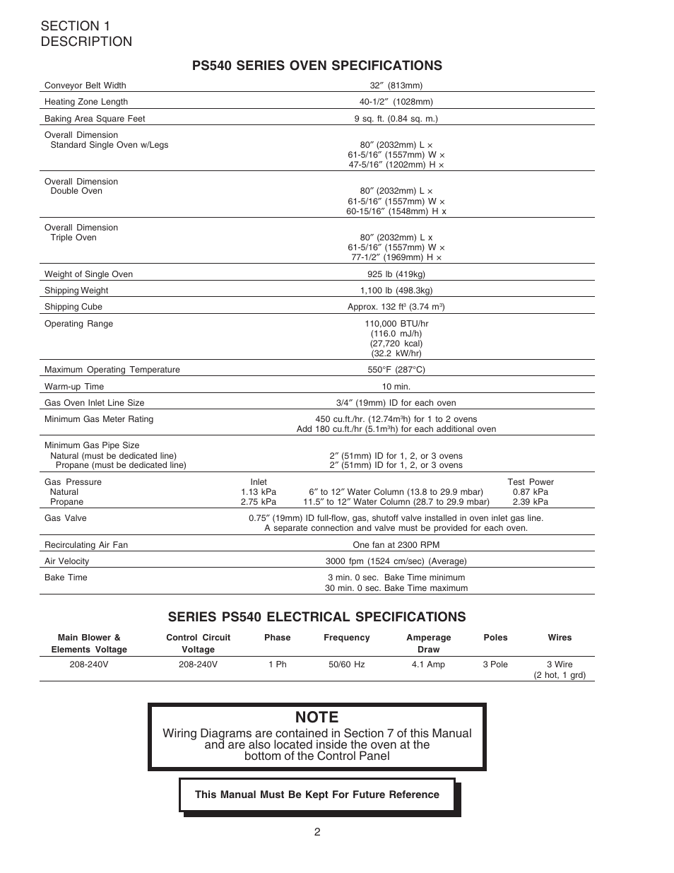 Series Ps540 Electrical Specifications Middleby Marshall Baking Oven Wiring Diagram Ovens Ps540g User Manual Page 6 76